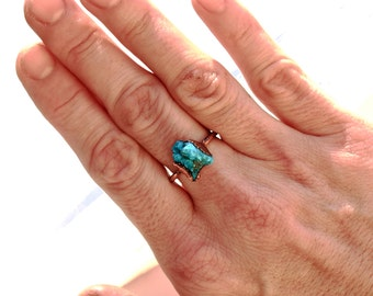 Raw Turquoise Birthstone Ring, Turquoise Stacker Ring, December Birthstone Ring, Raw Stone Crystal Ring, Electroformed Copper Jewelry