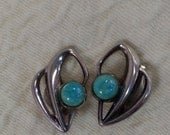 David Andersen Sterling Earrings Vintage Norway Silver Amazonite Clip