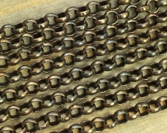 Rolo Chain - 3.6mm Hand Antiqued Brass - Solid Brass Rolo Chain - Unsoldered Links - Patina Queen - 5 Ft
