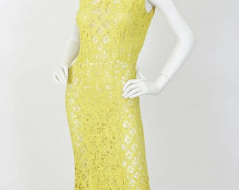 1930's Vintage Stunning French Made Yellow Crochet Dress Sz XS