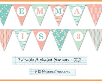 Editable Printable Banner Pennants Alphabet Garland For Parties/Celebrations, Happy Birthday Banner, Wedding Banner, Welcome Home AB-002-EP