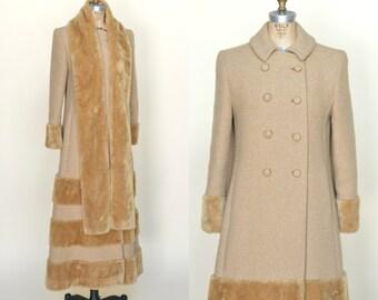 Vintage Maxi Coat --- 1970s Camel Coat