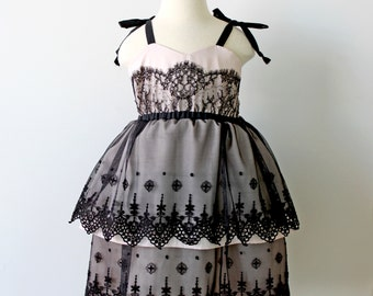 Black and Blush Lace Dress, Holiday, Flower Girl and Toddler