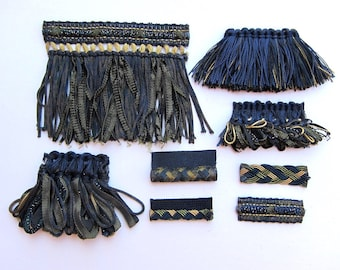 Fringe Trim Designer Pack for Fiber Artist and Wearable Art - Olive Green, Navy Blue and Beige