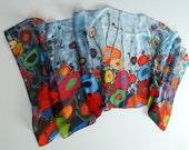 "Silk scarf digital print of the original artwork Liquid Mosaic painting ""Happy Field"""