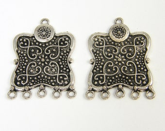 Antique Silver Ornate Tribal Earring Findings with Granulation Detailing Ethnic Jewelry Component |S8-16|2