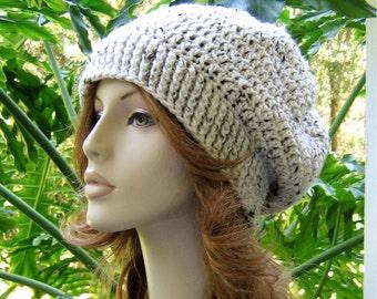 SLOUCHY Crochet IVORY TWEED Hat  //  Womens Accessories  //  Weekender Ski Hat Beret Tam Rasta Snood Beanie ... Ready-to-Ship