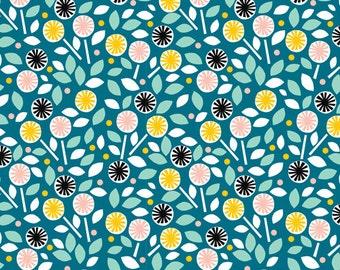 Cloud9 Glint Floret Blue Organic Cotton Fabric