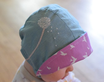 Blue Dandy Reversible Baby Sun Hat with Snaps