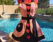 Queen of Hearts Sassy Apron with Petticoat and Hearts, Alice in Wonderland, Cosplay, Dress Up Apron, Womens Plus Sizes, Queen Costume