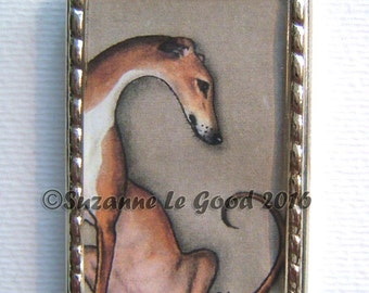 GREYHOUND DOG  Keyring, keychain, handbag charm with print from original painting by Suzanne Le Good