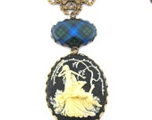 Scottish Tartan Jewelry - Tartans Special Occasion Collection - Campbell Ancient Victorian Stag Necklace with Sapphire Glass Gem Charm