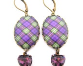 Fashion Tartan Jewelry - Ancient Romance Series - Bonnie Heather Tartan Earrings with Amethyst Heart Glass Charms