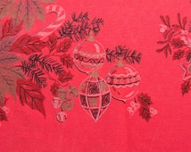 Vintage Christmas Tablecloth Shiny Brite Ornaments Mid Century Kitchen