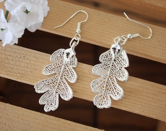 Silver Leaf Earrings, Oak Leaf, Real Leaf Earrings, Small Real Leaf Earrings, Lacey Oak, Sterling Silver, Nature, LESM97