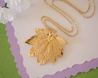 Gold Maple Leaf Necklace, Full Moon Maple, Real Gold Leaf, Real Full Moon Maple Leaf Necklace, Maple Leaf, Gold Filled, LC121