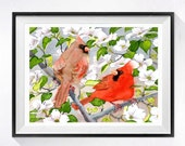 Bird Art Print Flower watercolor painting Dogwood Watercolour painting Spring art Cardinal pair animal illustration Red artwork red painting