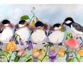 Nursery Room Bird Art / Watercolor PRINT / Baby bird Chickadee family / Childs playroom animal nature wall decor
