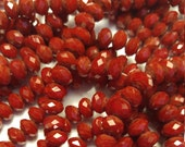 50 - Gorgeous Deep Blood Red Opaque - 8mmx6mm-  Faceted Rondelle Beads
