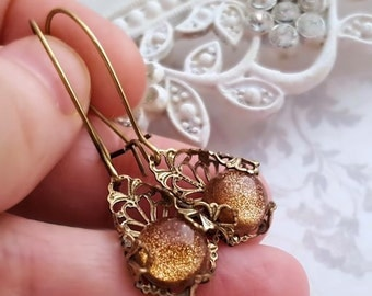 Filigree earrings, Art Deco style antiqued brass earrings, Sparkly earrings, copper and gold speckled cabochon earrings, filigree jewelry