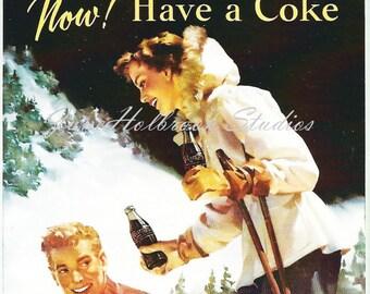 Digital Download Vintage PostCard and Calendar Images Beautiful Girl Drinking Coca Cola 0009