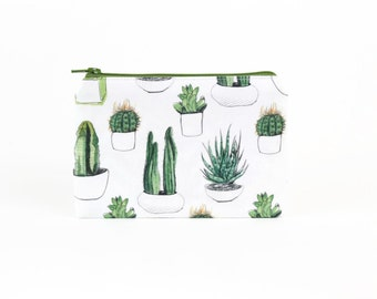 CHOOSE SIZE Succulents and Cactuses Zipper Pouch / Potted Cacti Camera Bag