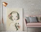 Sara with dog - Portrait - Holli - Nursery Wall Art - Nursery Decor - Childrens Art - Kids Wall Art - Nursery Art