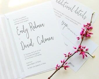 Simple Wedding Invitations, Modern Invitations, Gray and White Wedding, Black and White Wedding
