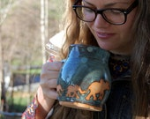 Elephants Mug in Slate Blue- Made to Order