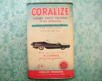 Vintage Coralize Car Polish Tin with Great Automobile Graphics