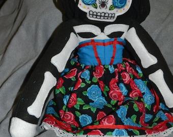 OOAK Sugar Skull Plush Skelleton Doll Day of the Dead
