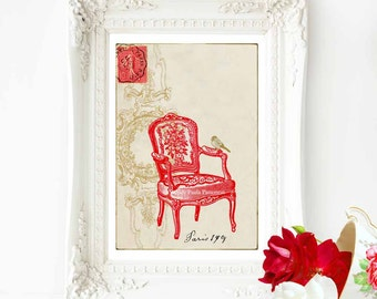 Red chair print, French vintage decor, Regency chair print, red chair, home decor, Paris, chair art, vintage chair, red decor, A4 print