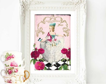 Marie Antoinette French art print, romantic vintage fashion illustration in pink, A4 giclee