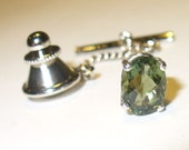 Moldavite Tie Tack or Lapel Pin in Sterling Silver - Your Own Falling Star!