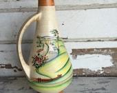Vintage German Pottery Ewer - Pfungstadt Autobahn - Souvenir Handpainted 341 27 19