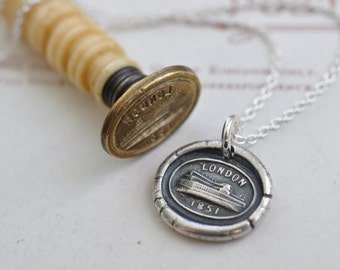 The Crystal Palace wax seal necklace pendant ... London 1851 - London souvenir gift - fine silver antique wax seal jewelry