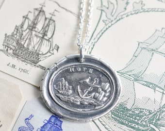 anchor and ship wax seal necklace pendant … HOPE - silver nautical antique wax seal jewelry