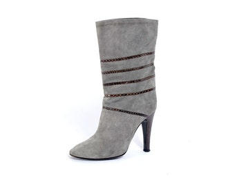 Vintage 70s Boots - Vintage 80s Boots - Gray Suede Boots - Brown Snakeskin - High Heeled Boots - 70s High Heels - 80s High Heels - Mid-Calf