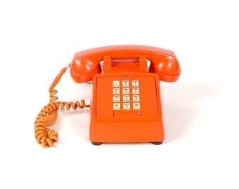 Vintage 70s Phone - 70s Telephone - Push Button Phone - Orange Phone - 70s Orange Plastic - Stromberg Carlson - Vintage Telephone - Mod 70s