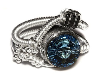 Steampunk Jewelry - Steampunk Wire Ring with Aquamarine Swarovski Crystal - Silver tone