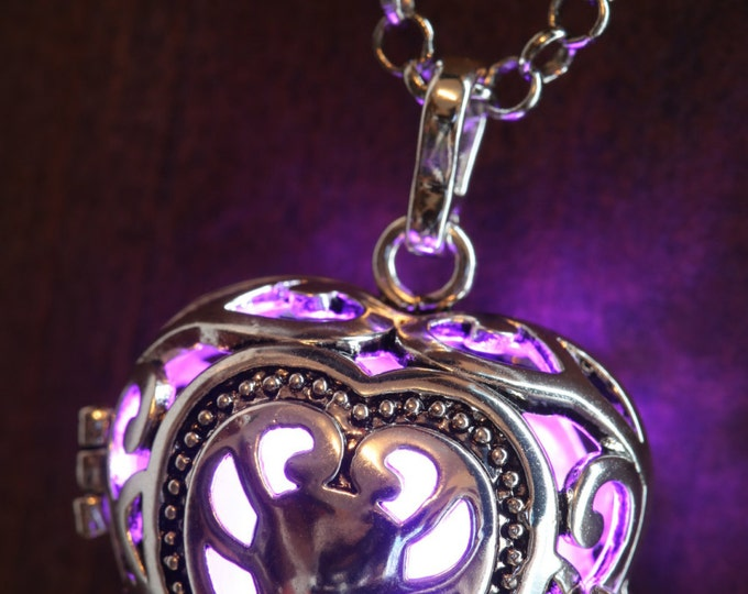 Heart Pendant Heart Jewellery Glowing Nekclace Heart Locket with pink glowing Orb Lovely Valentine Gift for Her - LED jewelry