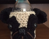 Crochet // Pug Dog Coffee Cozy // Water Bottle Cozy // Handmade