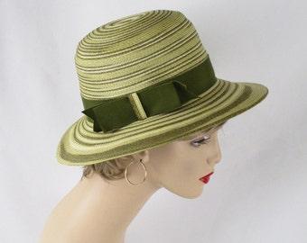 Vintage 1970s Oleg Cassini Hat Celery Green Striped Straw Wide Brim Sz 21 1/2