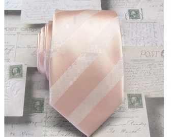 Peach Blush Stripes Mens Necktie with Matching Pocket Square Option. Wedding Ties.