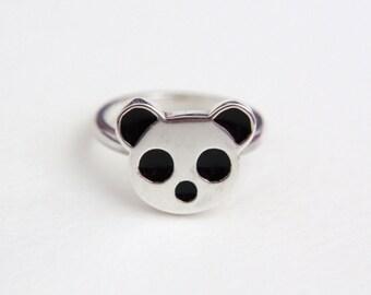 SALE!! Panda Ring, Sterling Silver, Black Enamel, Precious Jewellery, Handmade in Brighton, UK