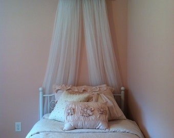 Bed Crown Canopy Pink Taupe Ivory Teester sHABBY cHic Princess FREE Personalize Upholstered Crib Nursery FREE white curtain So Zoey Boutique
