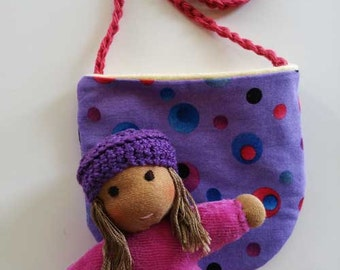 Waldorf inspired Pocket Doll Pink and Puple