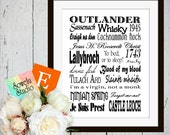 Outlander inspired printable wall art print subway art digital download