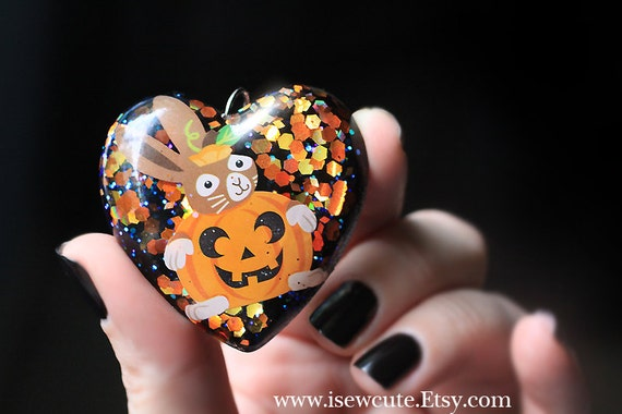 halloween schmuck halskette gruselige bunny rabbit harz herz. Black Bedroom Furniture Sets. Home Design Ideas