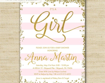 Blush Pink Gold Glitter Baby Shower Invitations, Printed Baby Shower Invites, It's A Girl, Free Priority Mail Shipping or DiY Printable